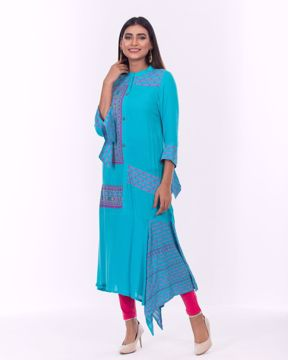 Picture of Fusion Kurti with Knot Sleeve