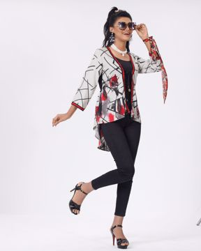 Picture of Womens Woven Fashion Short Tops