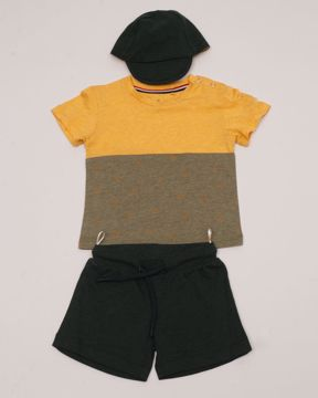 Picture of NEWBORN BOYS KNIT T-SHIRT & PANT WITH CAP