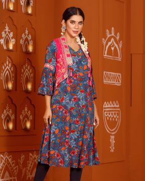 Picture of Womens Long Kurti With Koti