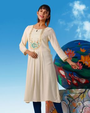 Picture of Womens Forsythia Flowers Kurtis