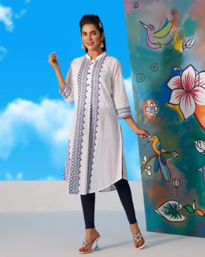 Picture of Womens Front Pleated Long Kurti